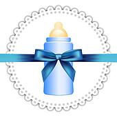 napkin, baby bottle and bow