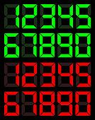 Set of green and red digital number