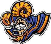 American Football Ram Mascot Wearing Helmet with Horns Vector Il