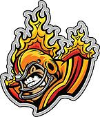 Flaming American Football Player Mascot Wearing Helmet Vector Il