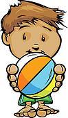 Smiling Swim or Pool Kid holding Beach Ball  Vector Cartoon Illu