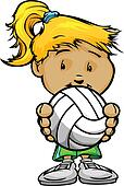 Smiling Volleyball Girl holding Volleyball Ball  Vector Cartoon
