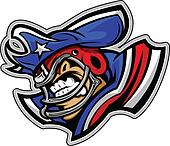 American Football Patriot Mascot Wearing Hat with Star Vector Il