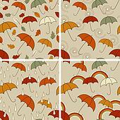 4 Vector Autumn  Seamless Patterns