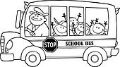 Outlined School Bus
