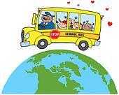 Children On School Bus Around Earth