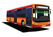 City bus on the road. Vector illust