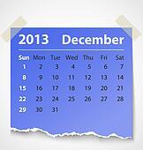 2013 calendar december colorful torn paper