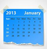 2013 calendar january colorful torn paper