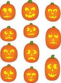 Eleven Pumpkin Faces