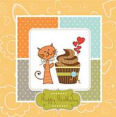 birthday greeting card with cupcake