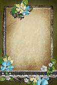 Vintage background with paper, key, lace and flower composition