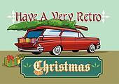 Retro Christmas Tree Station Wagon