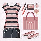 Fashion set with a top and a skirt.