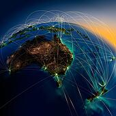 Main air routes in Australia and New Zealand