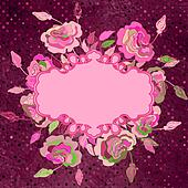 Vintage background with blue floral retro. EPS 8