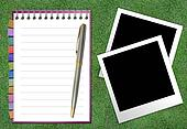 Blank Paper with Notebook and reminder note