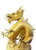 Golden dragon statue in white background