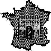 Contour of France with Arc de Triomphe