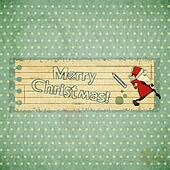 Christmas cards with Santa Claus and hand draw text Merry Christ