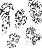 Stylized woman heads