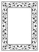 oriental floral ornamental decorative black frame