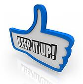 Keep It Up Blue Thumbs Up Word Encouragement Feedback