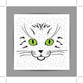 Cute cat face sketch, postcard for your design