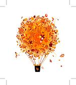 Autumn season concept, air balloon with leaf for your design