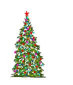 Christmas tree, abstract sketch for your design