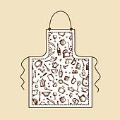 Apron with kitchen utensils sketch for your design