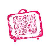 Summer vacations sketch, suitcase for your design