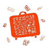 Summer vacations sketch, suitcase orange for your design