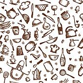 Kitchen utensils sketch, seamless pattern