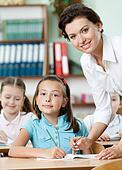 Teacher helps pupils to perform the task