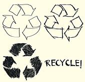 Hand drawn recycle sign