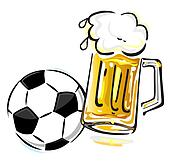 Soccer ball and beer
