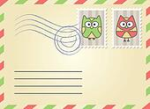 envelope with postage stamps