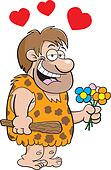 Caveman with flowers
