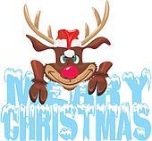 merry christmas - red nosed reideer