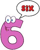 Happy Number Six With Speech Bubble