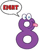 Number Eight With Speech Bubble