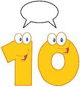Yellow Number Ten Character