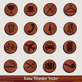 dark wooden icon set with different