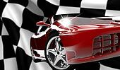 Red car on a checkered flag