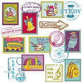 Vector Set of SCHOOL stamps - for design and scrapbook in vector