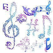 Set of Musical Notes Elements - in vector