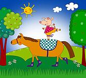Pig and horse. Cartoon characters