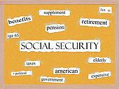 Social Security Corkboard Word Concept