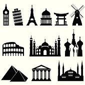 Travel landmarks and monuments